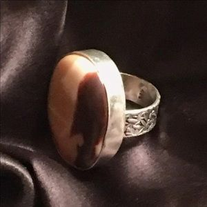 Large Oval Agate Artisan Ring
